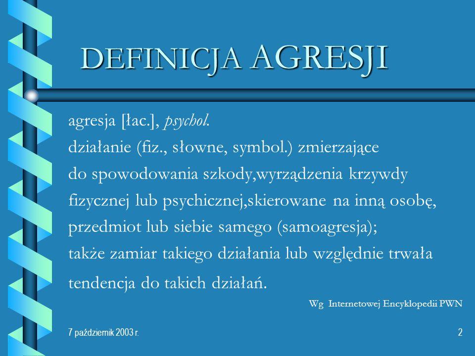 DEFINICJA AGRESJI agresja [łac.], psychol.